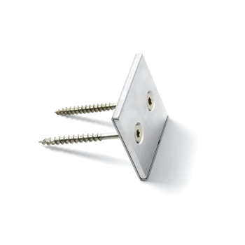 Neodymiummagnet med metallkappa, storlek 40x40x4 mm