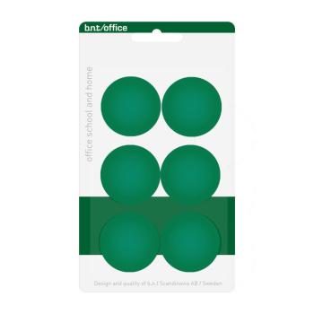 30 mm kontorsmagneter från BNT Scandinavia i förpackning med 6 st gröna magneter