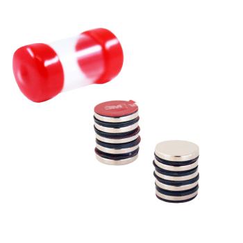 Supermagneter 15x3 mm - förpackning med 10 st med 3M lim på baksidan