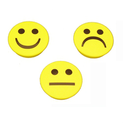 3-pack gula runda smiley magneter