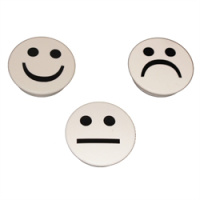 Vita runda smiley-magneter 3-pack.