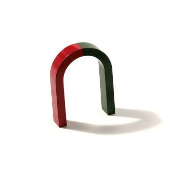 Klassisk hästsko magnet röd/grön 8x6 cm.
