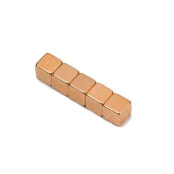 Kobbermagnet 7x7x7 mm. av neodymium m kobber yta