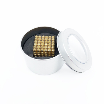 Magnetbollar 18K guld i liten metalllåda 216-pack